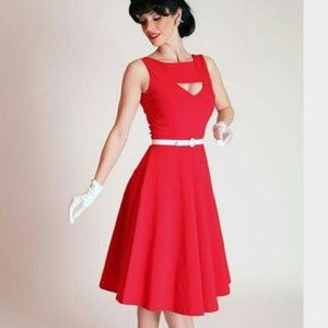 Bettie Page Tatyana Red Retro Cutout Dress